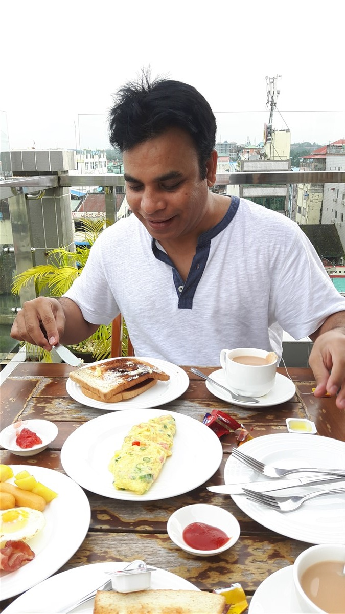 Eating Breakfast at Hotel Grand United 21st Downtown in Yangon, Myanmar