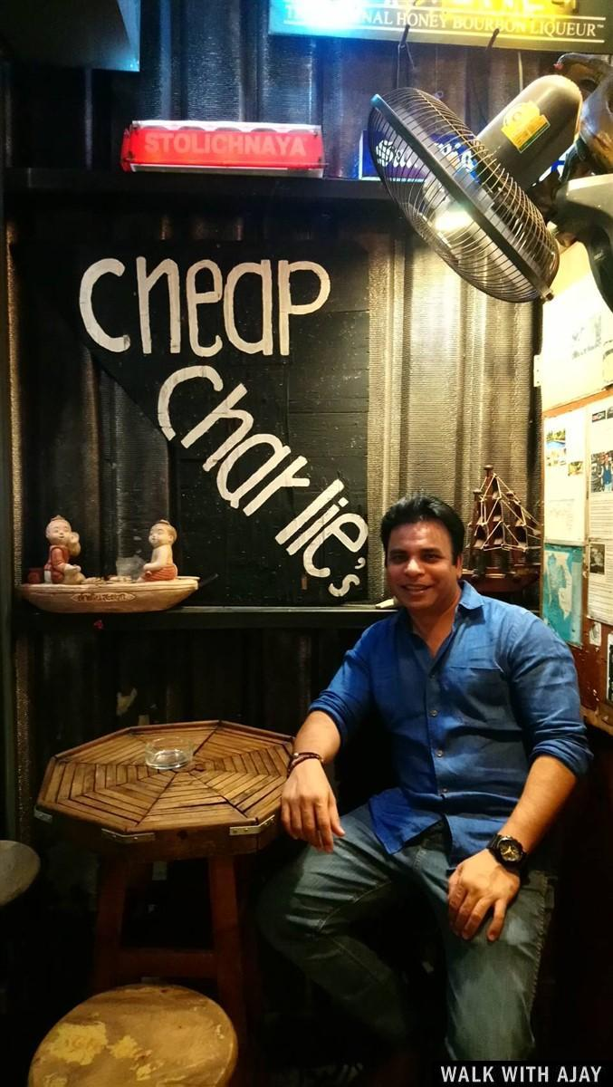 Inside at Cheap Charlie's Bar, See the name behind me