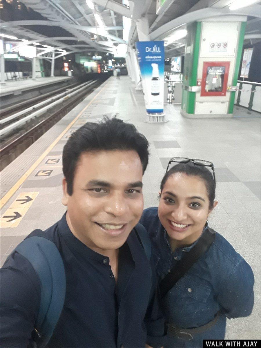 Taking selfie with my sister ... our closeup smile at Nana BTS Station