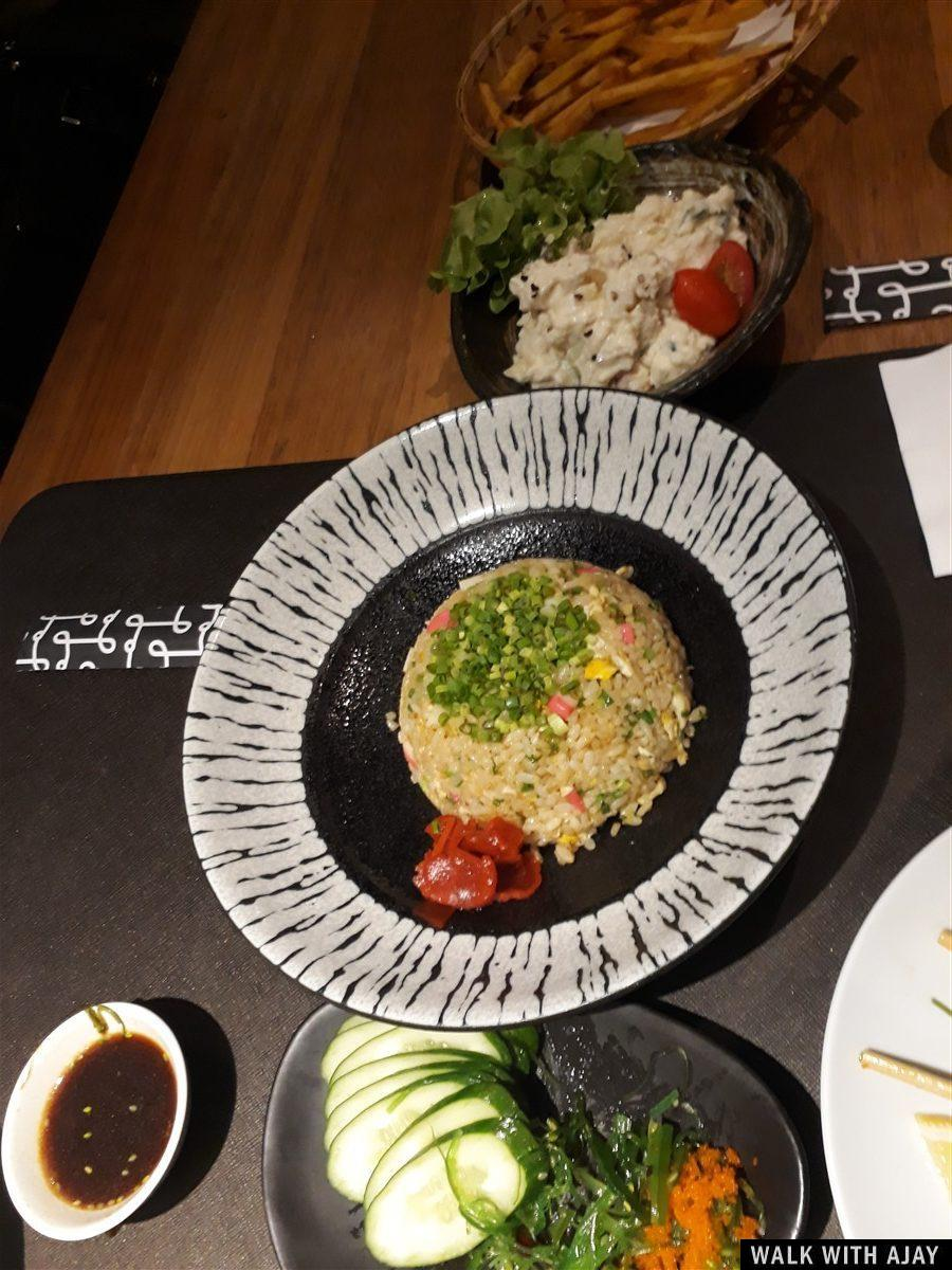 Tasty Japanese dinner fried rice and salad with good presentation