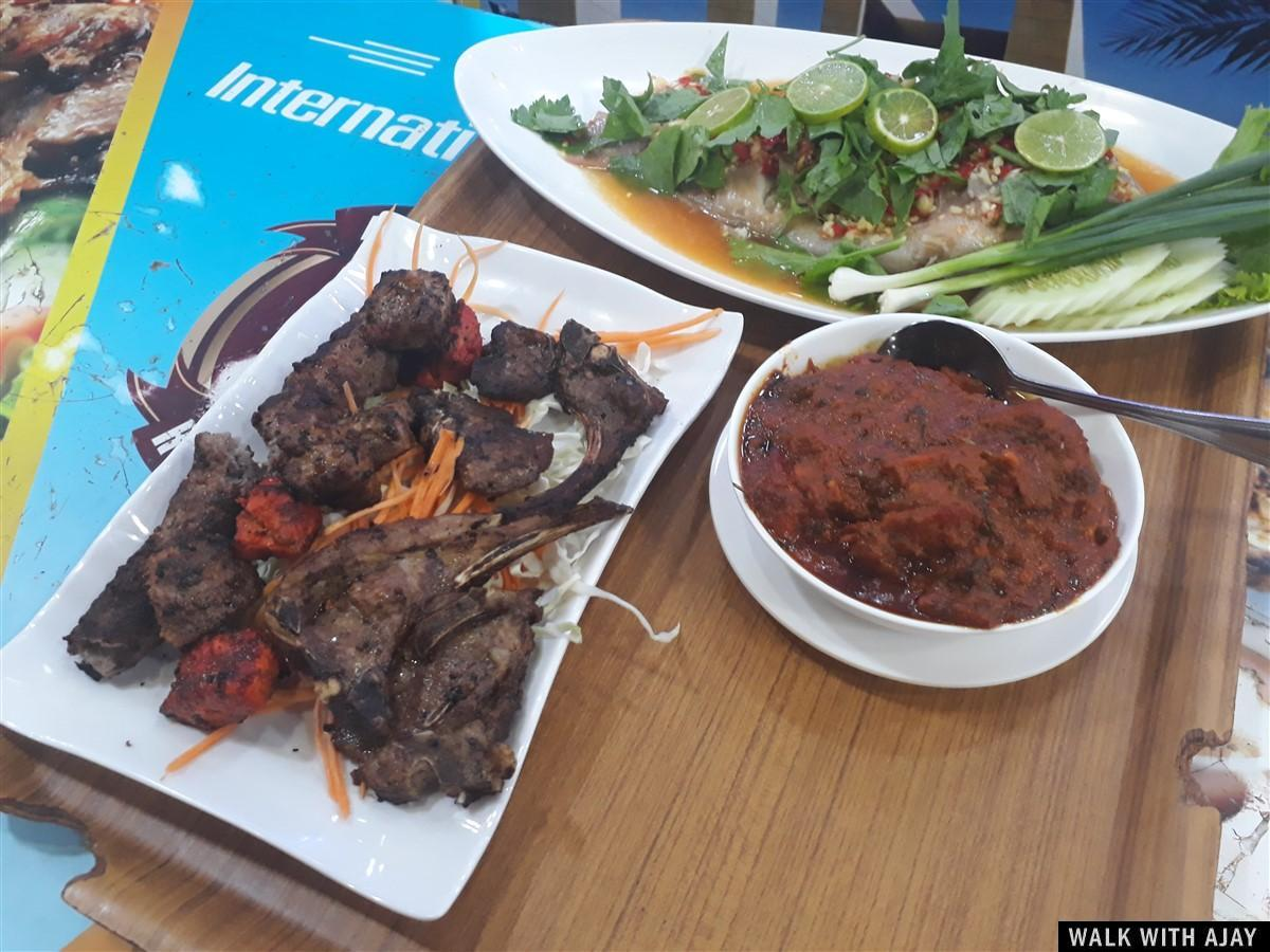Some Barbecue food with sauce and fish plater... must try